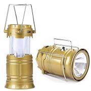 LED фонарь XF5800T кемпинговый походный на солнечной батарее (золотой)
