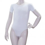 Купальник гимнастический, короткий рукав, белый, х/б, р. 38