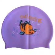 Шапочка для плавания силиконовая с рисунком RH-С20 (фиолетовая)