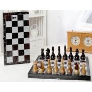 Шахматы походные деревянные с венге доской, рисунок серебро 188-18