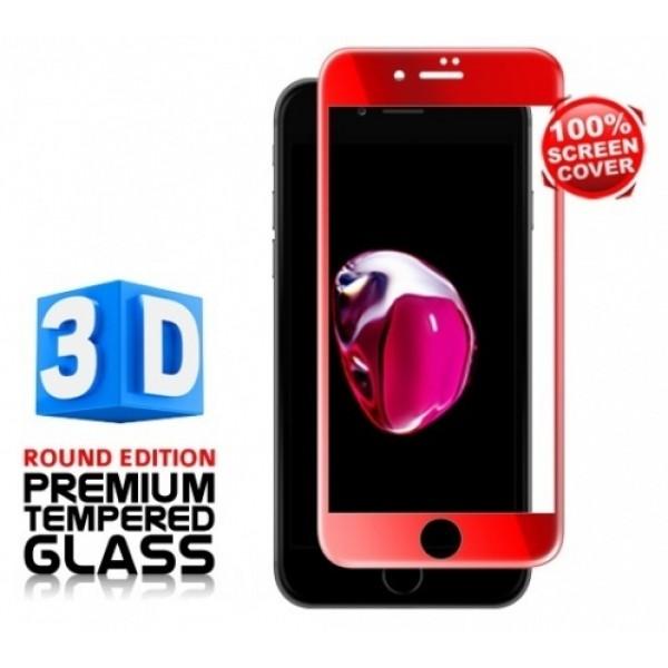Защитное 3D 5D стекло для iPhone 7 plus, 8 plus (Красный)