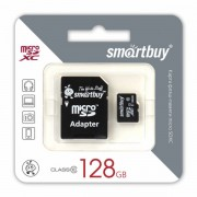 Карта памяти SmartBuy MicroSD 128 Gb Class 10 в комплекте Adapter SD