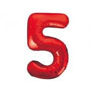 Шар (34''/86 см) Цифра 5 (красный) .в упаковке 1 шт