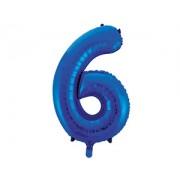 Шар (34''/86 см) Цифра 6 (синий) .в упаковке 1 шт