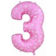 Шар (40''/102 см) Цифра 3 (Розовый) 1 шт.