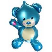 Шар (26''/66 см) Фигура, Плюшевый мишка, Голубой, 1 шт.