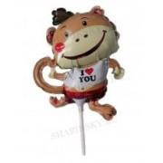 Фольгированный шар с клапаном на палочке (12/29 см) Мини-фигура, Обезьянка I love you, 20 шт.
