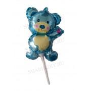 Фольгированный шар с клапаном на палочке (12/29 см) Мини-фигура, Мишка, Голубой, 20 шт.