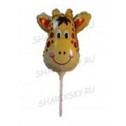 Фольгированный шар с клапаном на палочке (12/29 см) Мини-фигура, Голова жирафа , 20 шт.