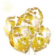 Прозрачные шары с конфетти золотого цвета (12''/30 см), 6 шт.