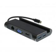 Многофункциональная док-станция Type-C 7 в 1 адаптер HDTV+VGA+LAN+USB 3.0+PD (Черный)