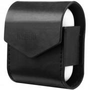 Кожаный чехол Interstep для наушников AirPods (черный)