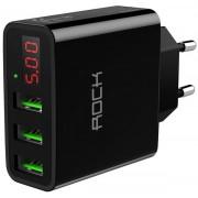 Зарядное устройство с дисплеем Rock T14 Travel Charger with Display 3USB, 3A (Черный)