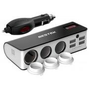 Разветвитель в прикуриватель автомобиля Bestek Car socket splitter MRS203BU (Черный)
