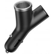 Автомобильная зарядка в прикуриватель Baseus Y type dual USB+cigarette lighter extended (Черный)