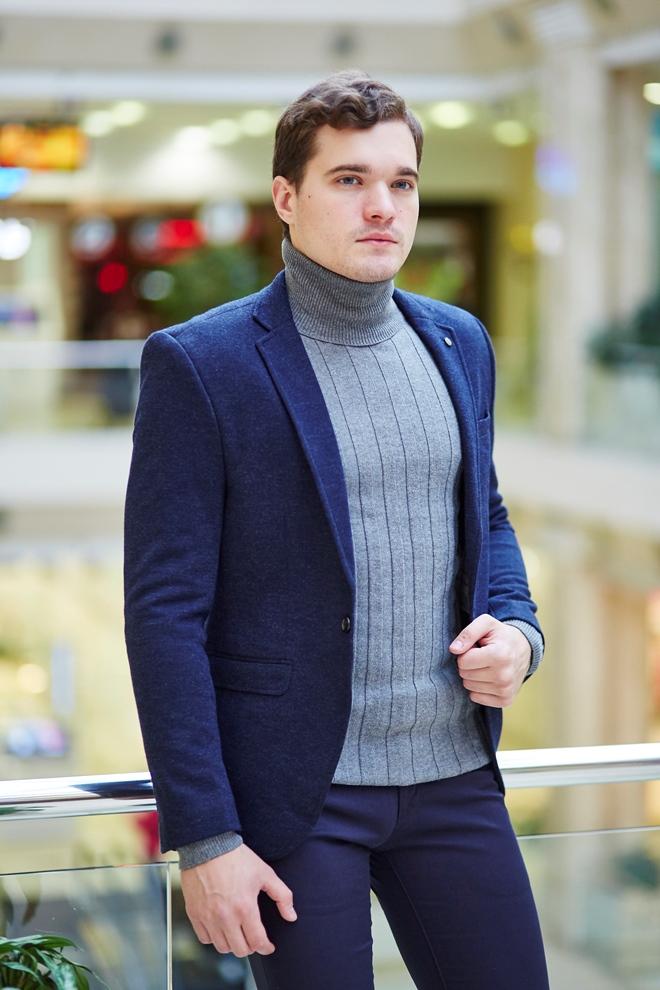 Стильный мужской пиджак синий
