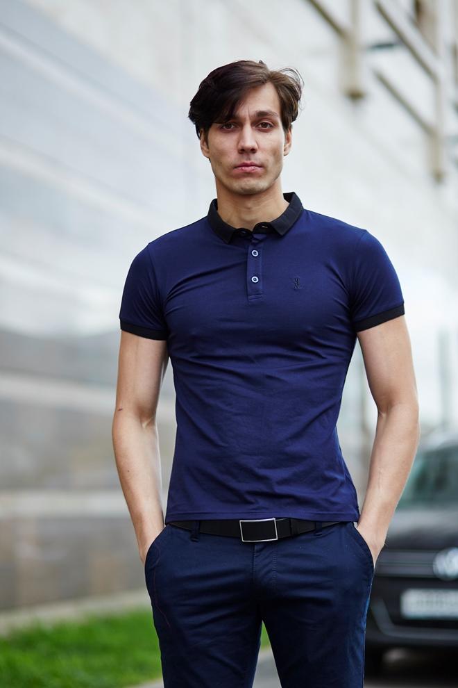 Стильный мужской футболка поло с воротом на пуговицах