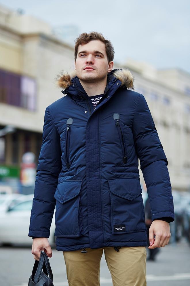 Стильная мужская куртка-пуховик синего цвета (натуральный лебяжий пух)