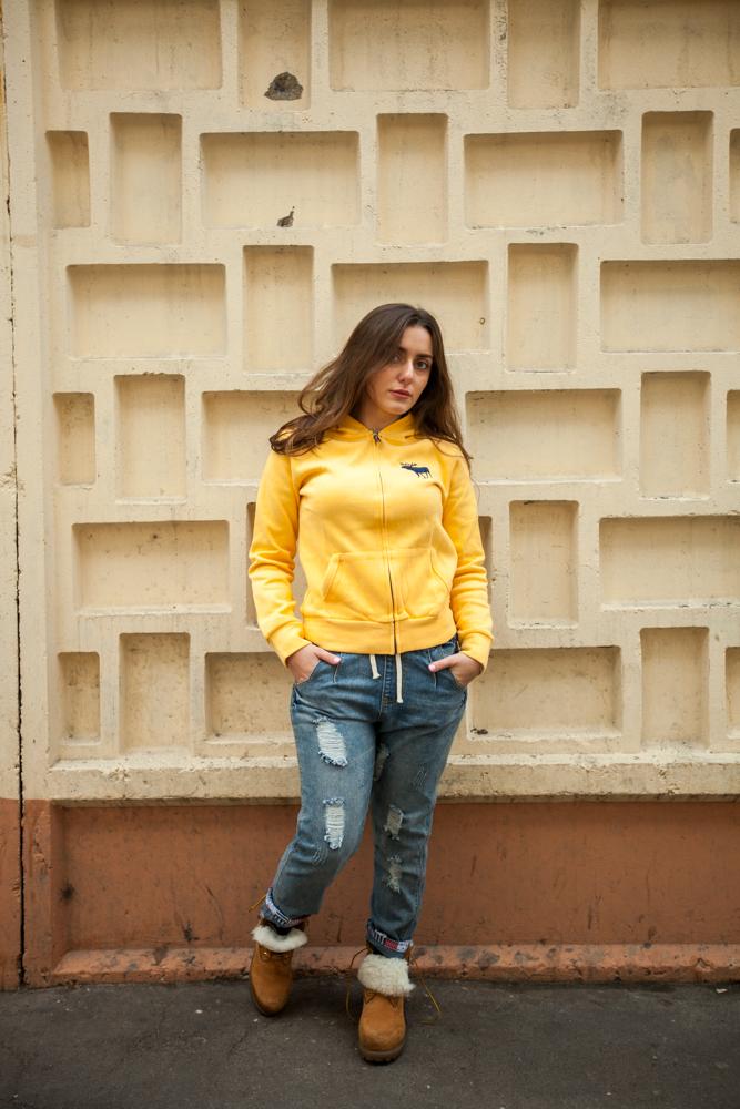Стильная женская кофта Abercrombie and fitch (Желтая)