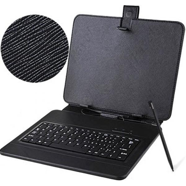 """Универсальный чехол книжка с клавиатурой для планшета 10"""" (Черный)"""