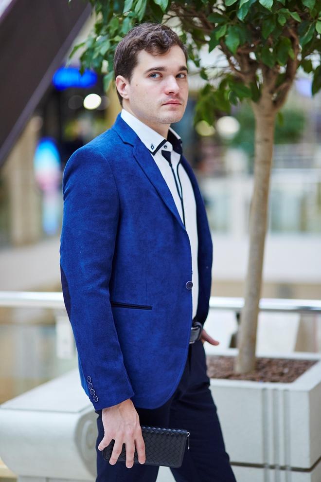Стильный мужской пиджак светло-синий вариант два