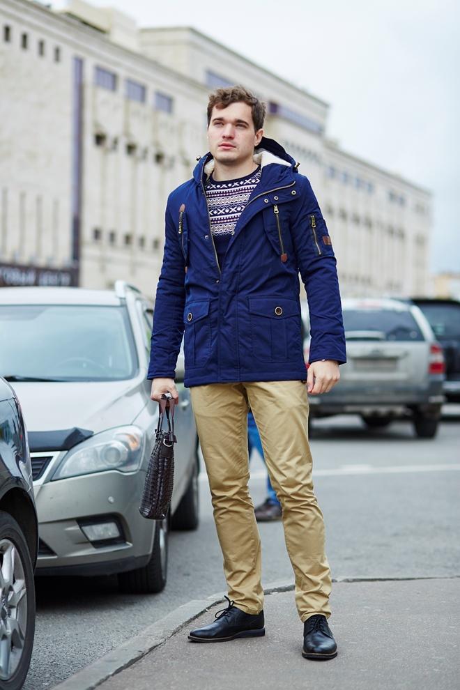Стильная мужская куртка синяя вариант три