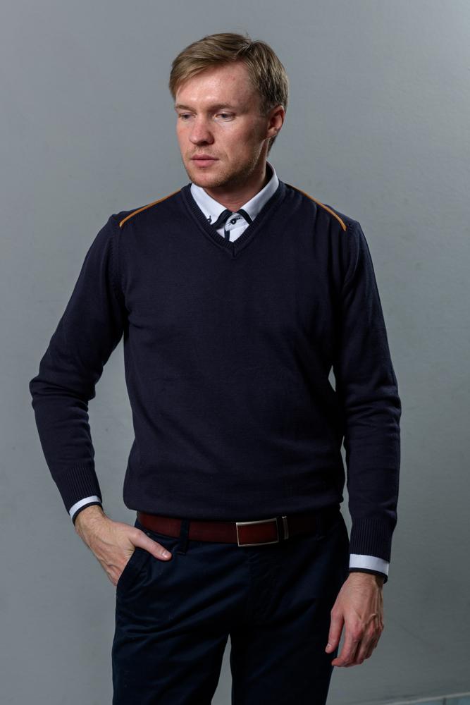 Стильная мужская темно-синяя кофта