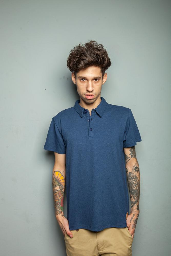 Стильная мужская футболка поло синяя
